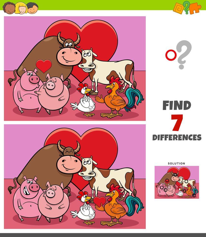 jeu de différences avec des animaux de la ferme amoureux vecteur