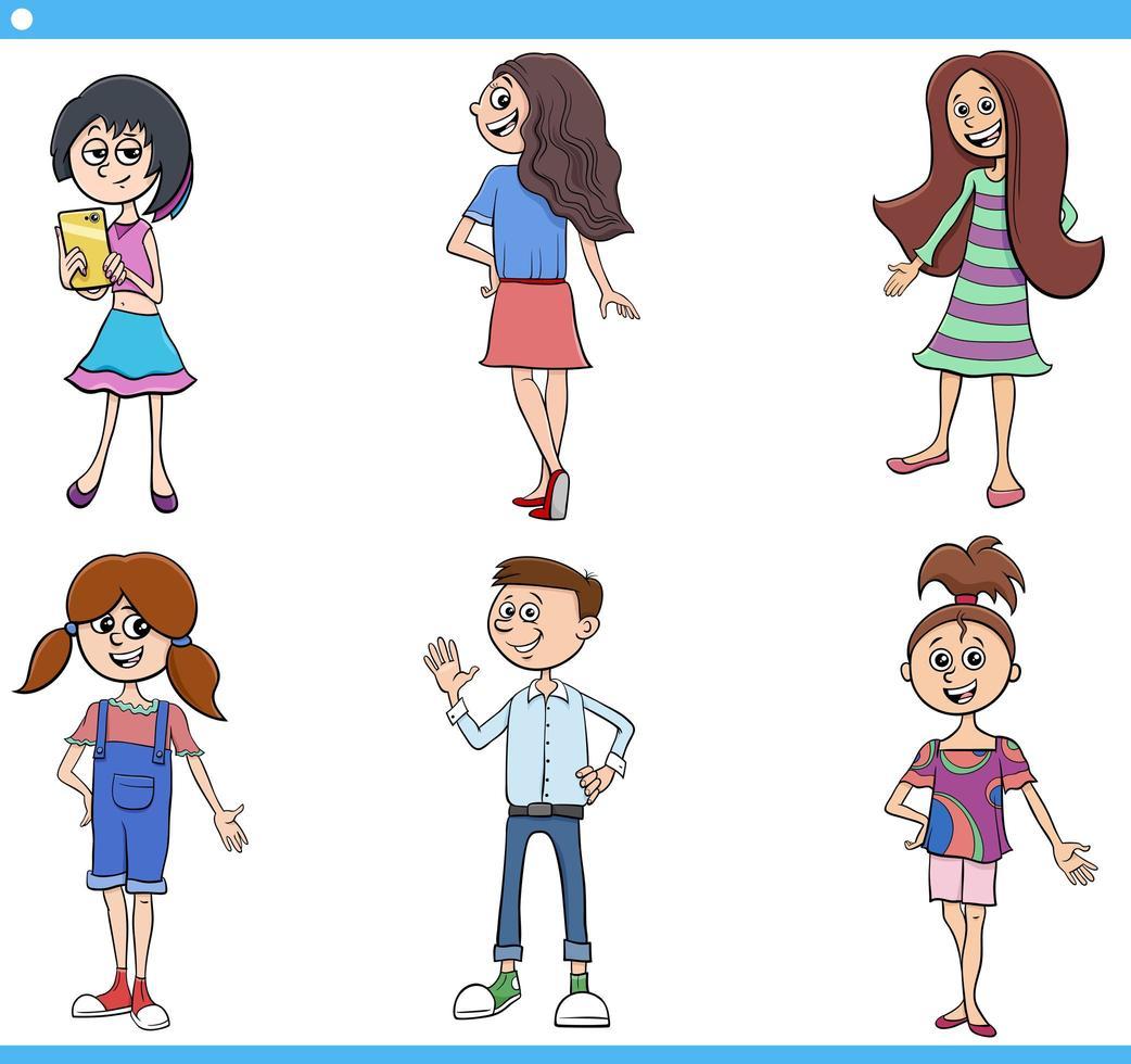 jeu de personnages de dessins animés pour enfants et adolescents vecteur