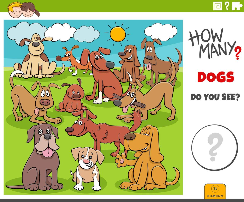 combien de tâches éducatives de chiens pour les enfants vecteur