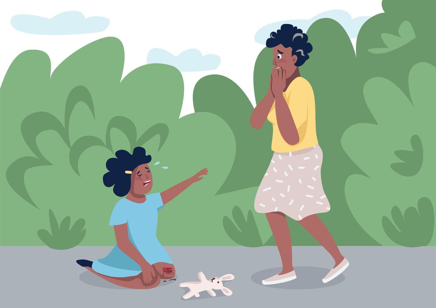 mère avec fille qui pleure vecteur