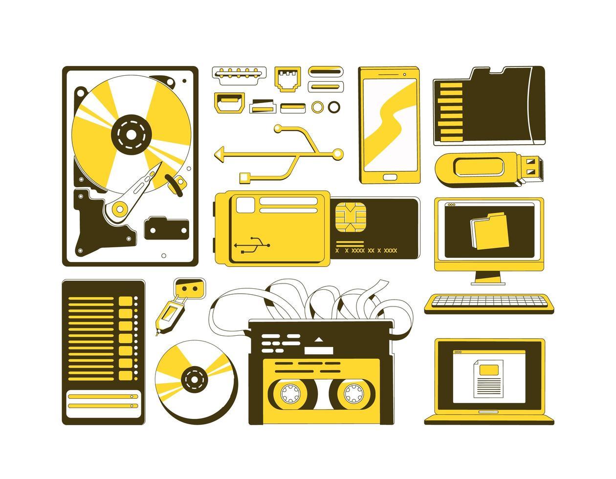 ensemble d'objets de périphériques de stockage de données vecteur