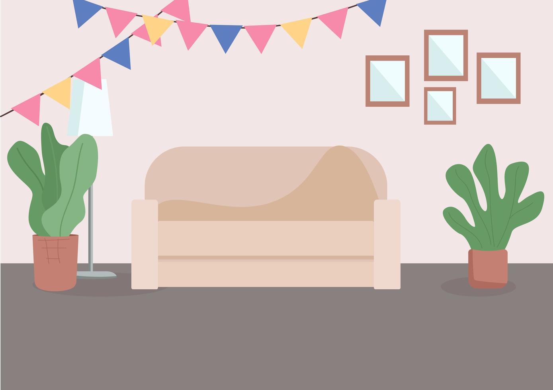 salon décoré vecteur