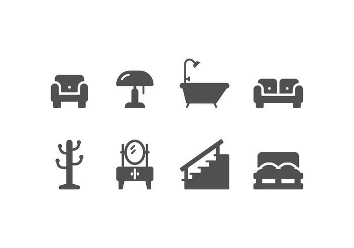 Meubles et décoration de la maison set d'icônes vecteur