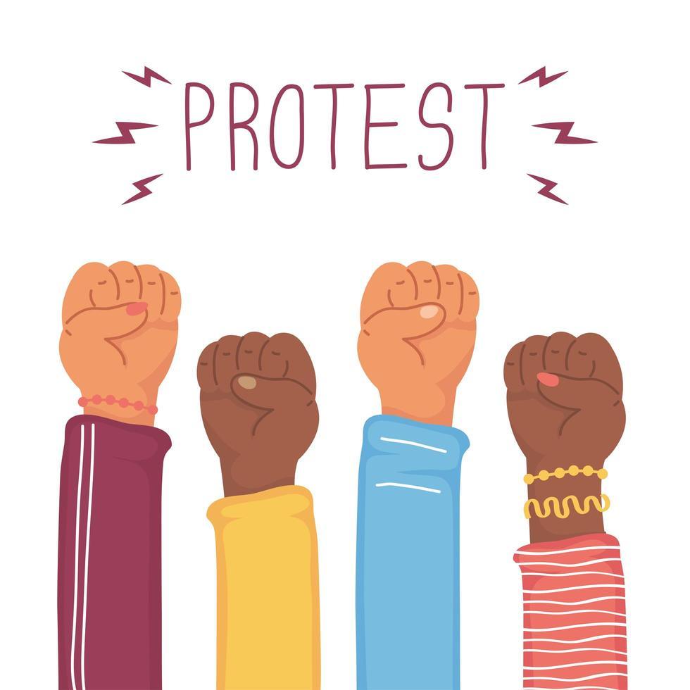 mains interraciales avec les poings pour protester vecteur