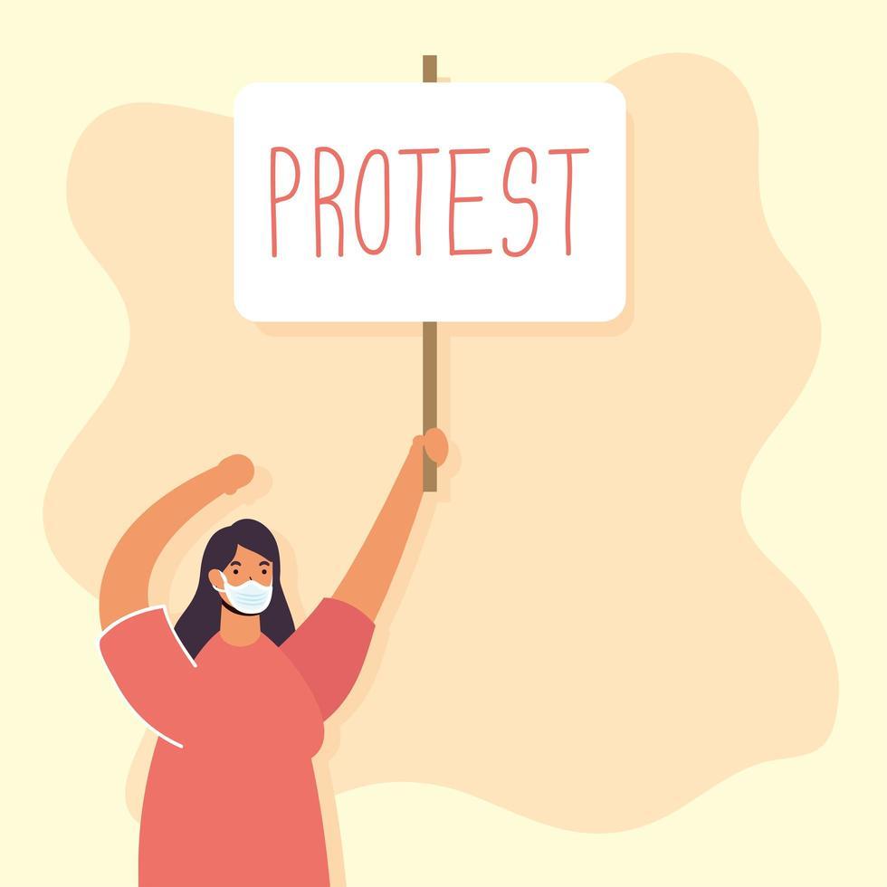 femme portant un masque facial et protestant vecteur