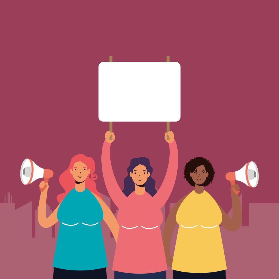 femmes qui protestent avec des panneaux vierges et des mégaphones vecteur