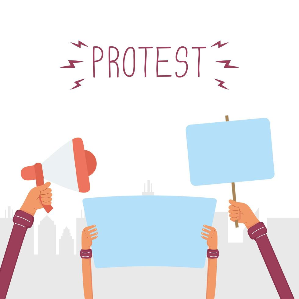 mains tenant des bannières de protestation et des mégaphones vecteur