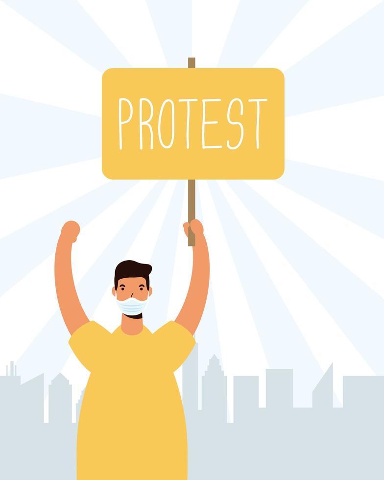 homme tenant une pancarte pour protester vecteur