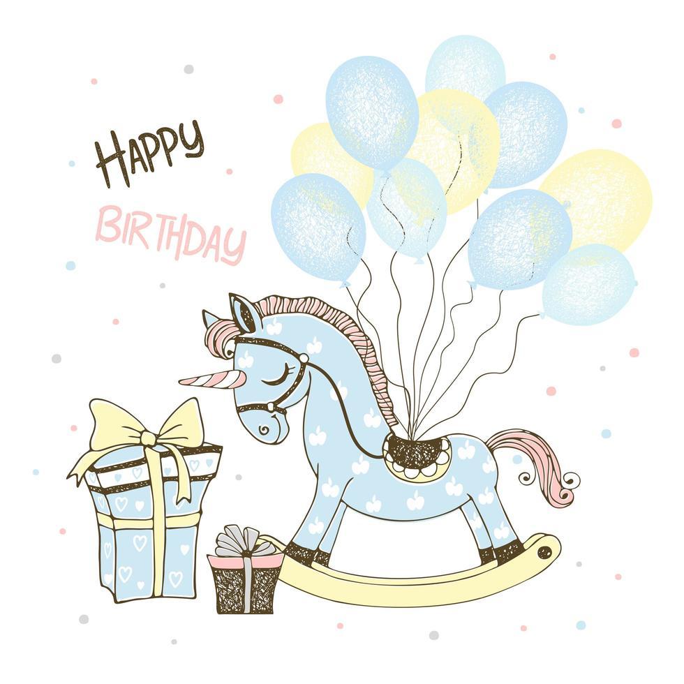 licorne cheval jouet et ballons et cadeaux vecteur