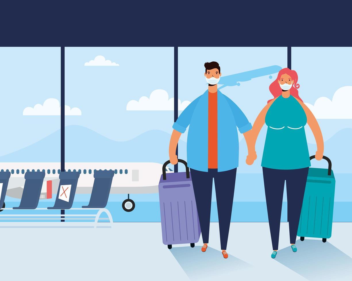 un couple de voyageurs avec des valises à l'aéroport vecteur