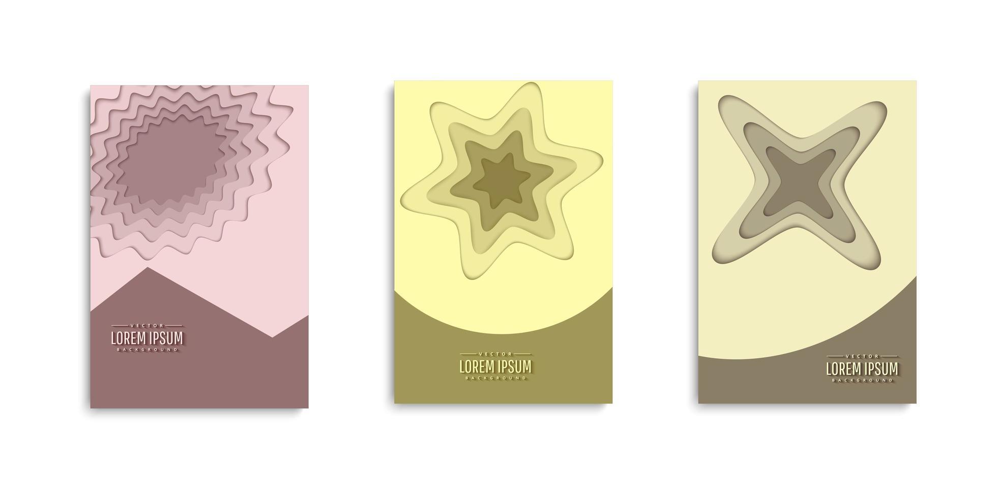 ensemble de couvertures de couches de papier de forme abstraite vecteur