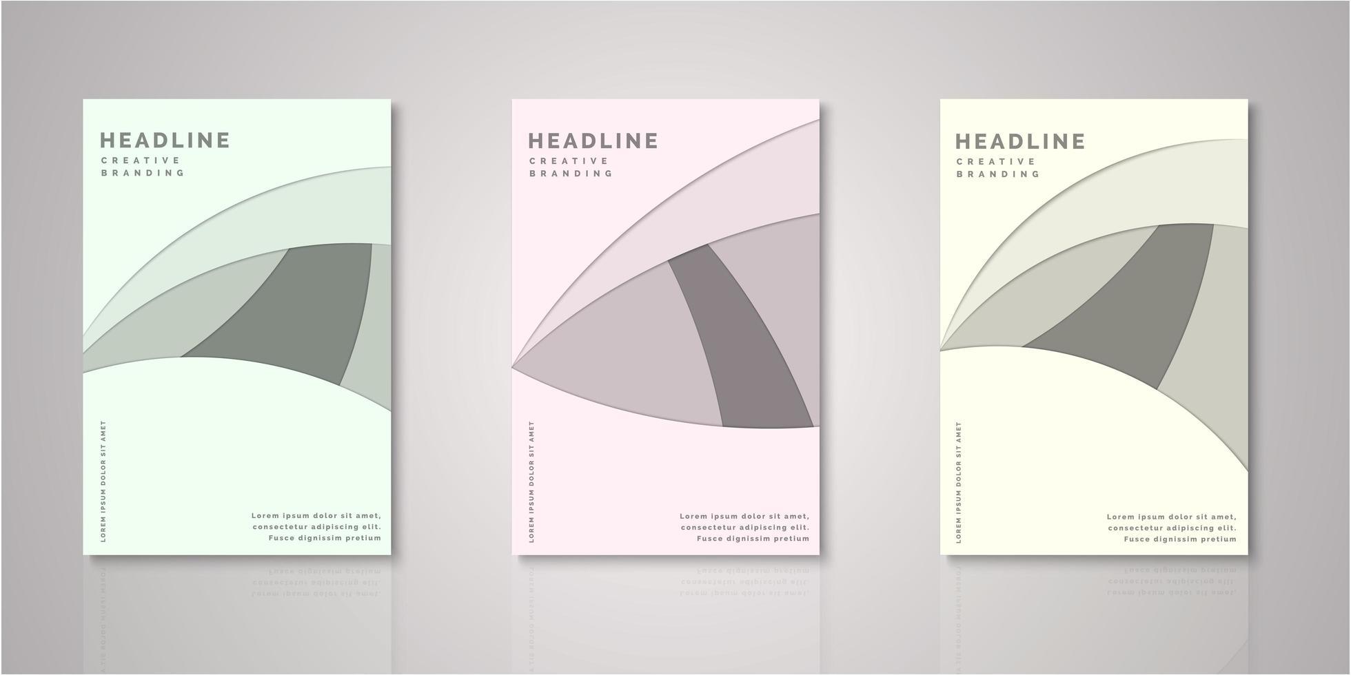 ensemble de couvertures découpées en papier de forme abstraite vecteur