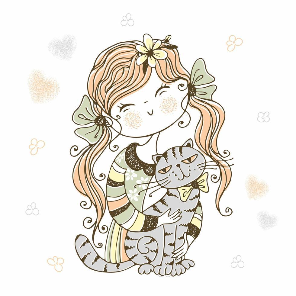 jolie fille avec chat. chatons mon amour vecteur