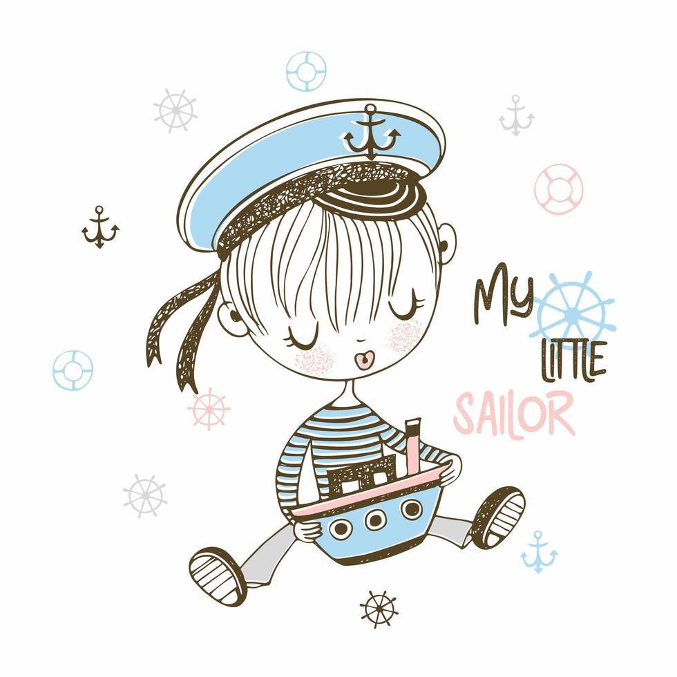 petit marin au chapeau avec bateau jouet vecteur