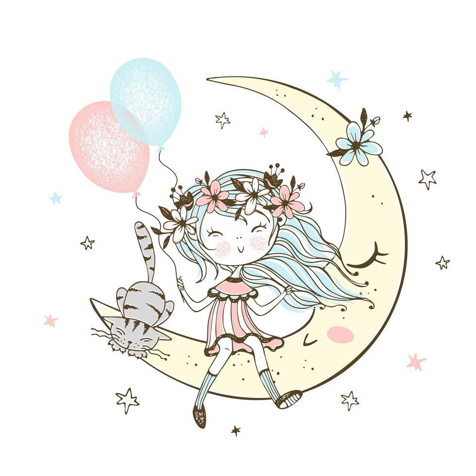 fille avec un chat assis sur la lune vecteur