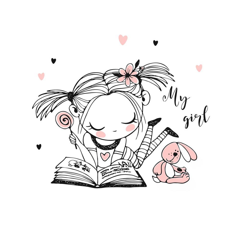 une jolie petite fille lit un livre vecteur