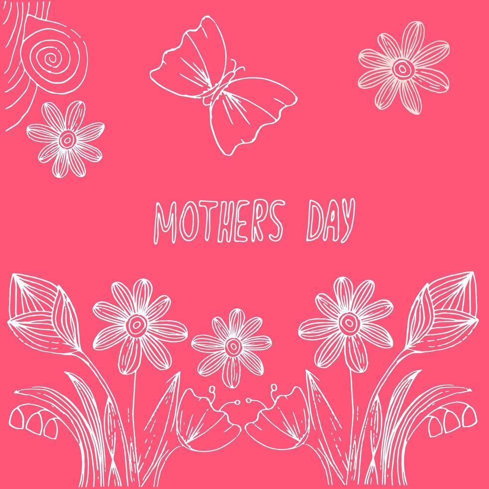 carte postale dessinée à la main pour la fête des mères vecteur