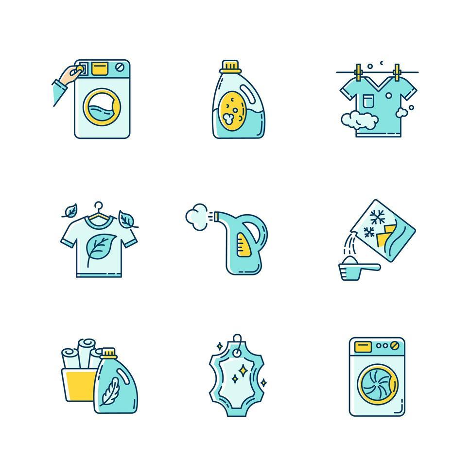 ensemble d'icônes de types de linge. vecteur