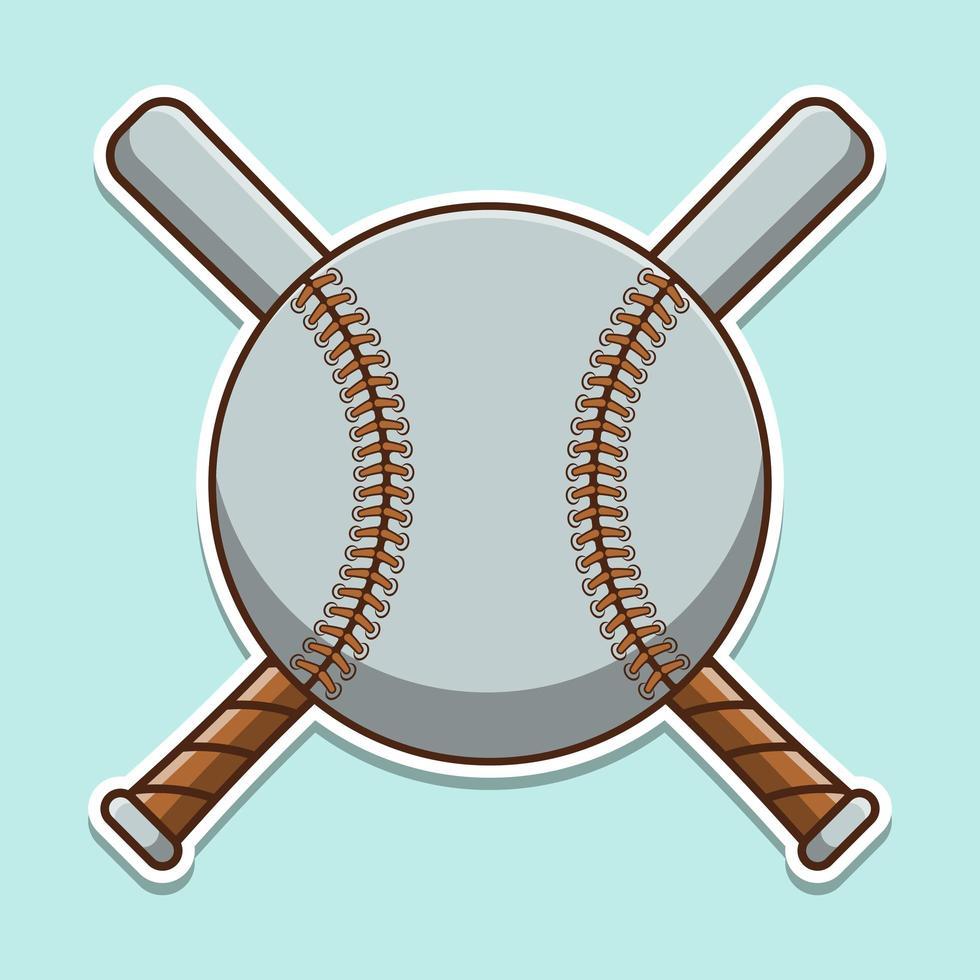 baseball mignon avec dessin animé de chauves-souris croisées vecteur