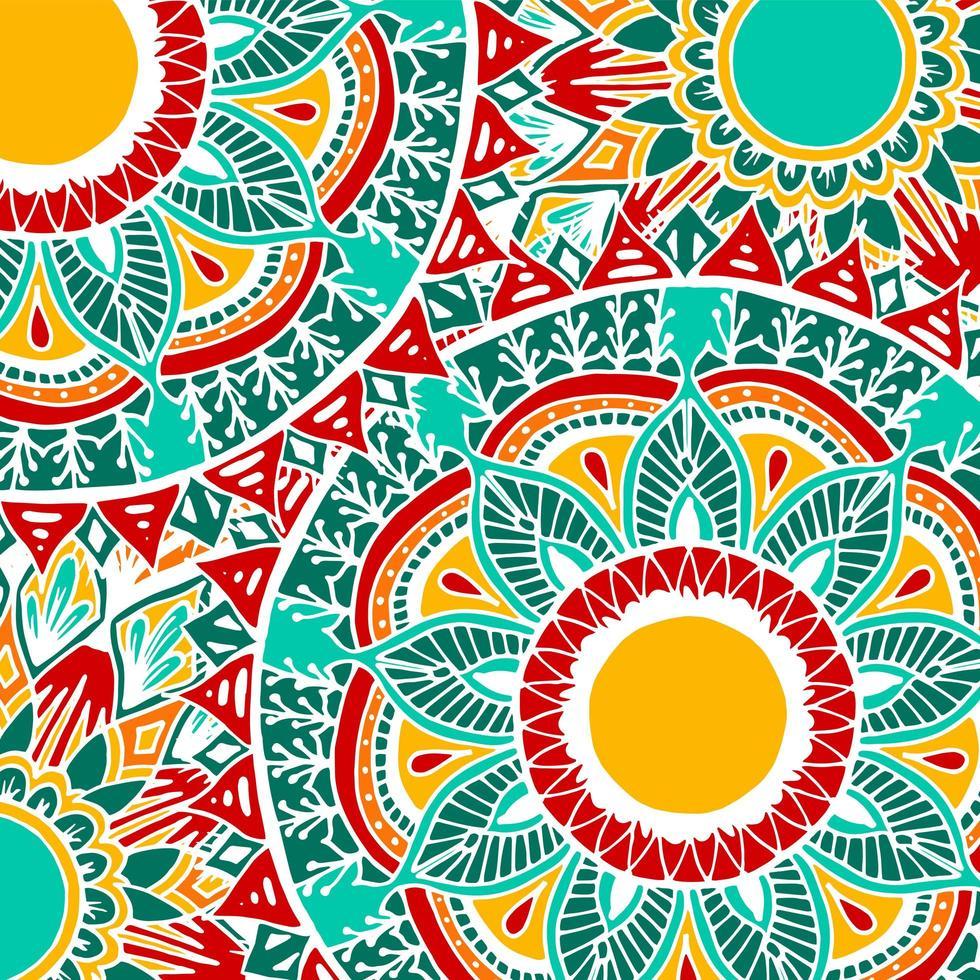 fond de mandala fleur style boho coloré vecteur
