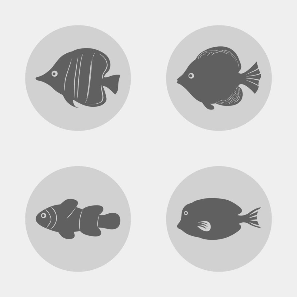 ensemble d & # 39; icône de poisson vecteur