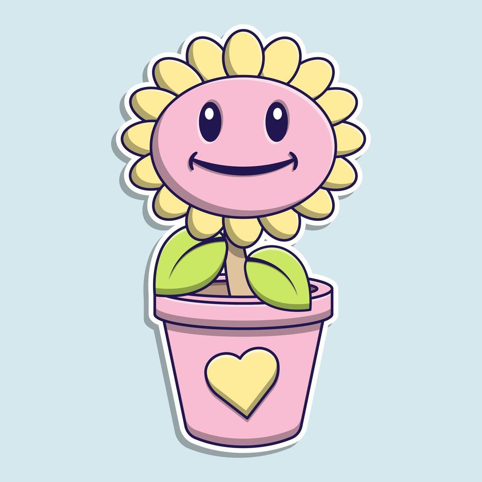 dessin animé mignon tournesol rose vecteur