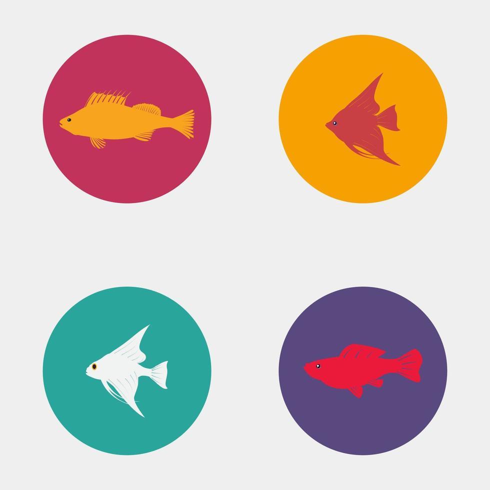 icônes de poissons colorés vecteur