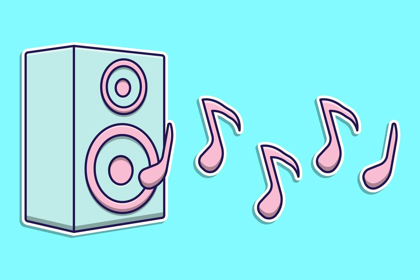 haut-parleur de dessin animé design plat pour la musique vecteur