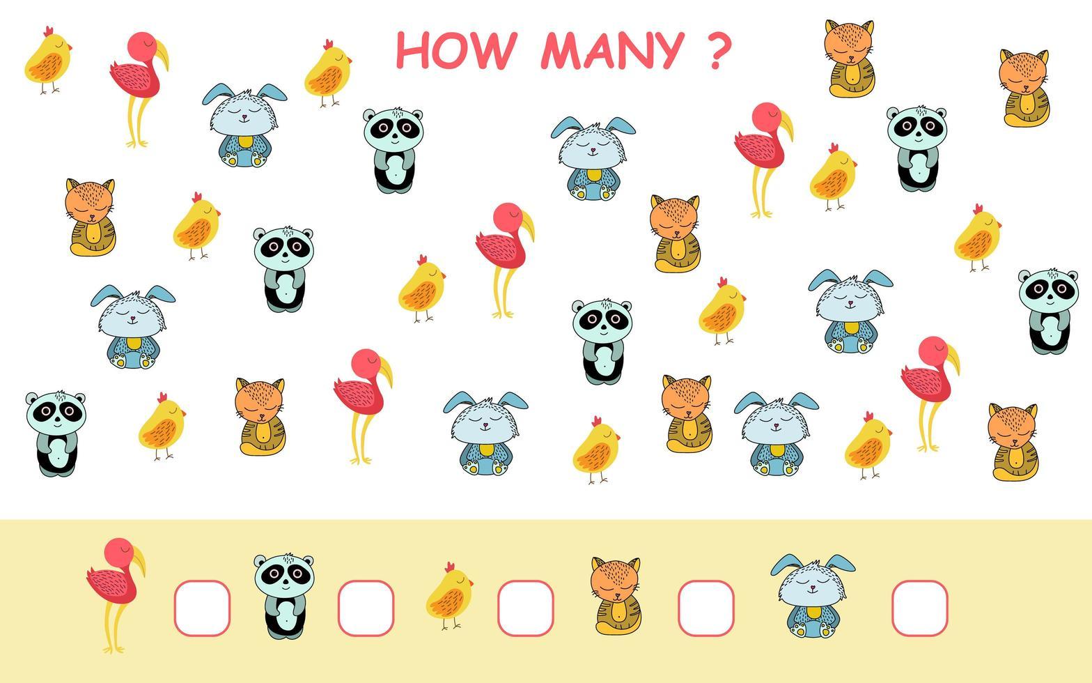 combien de page de feuille de calcul avec des animaux en style cartoon vecteur
