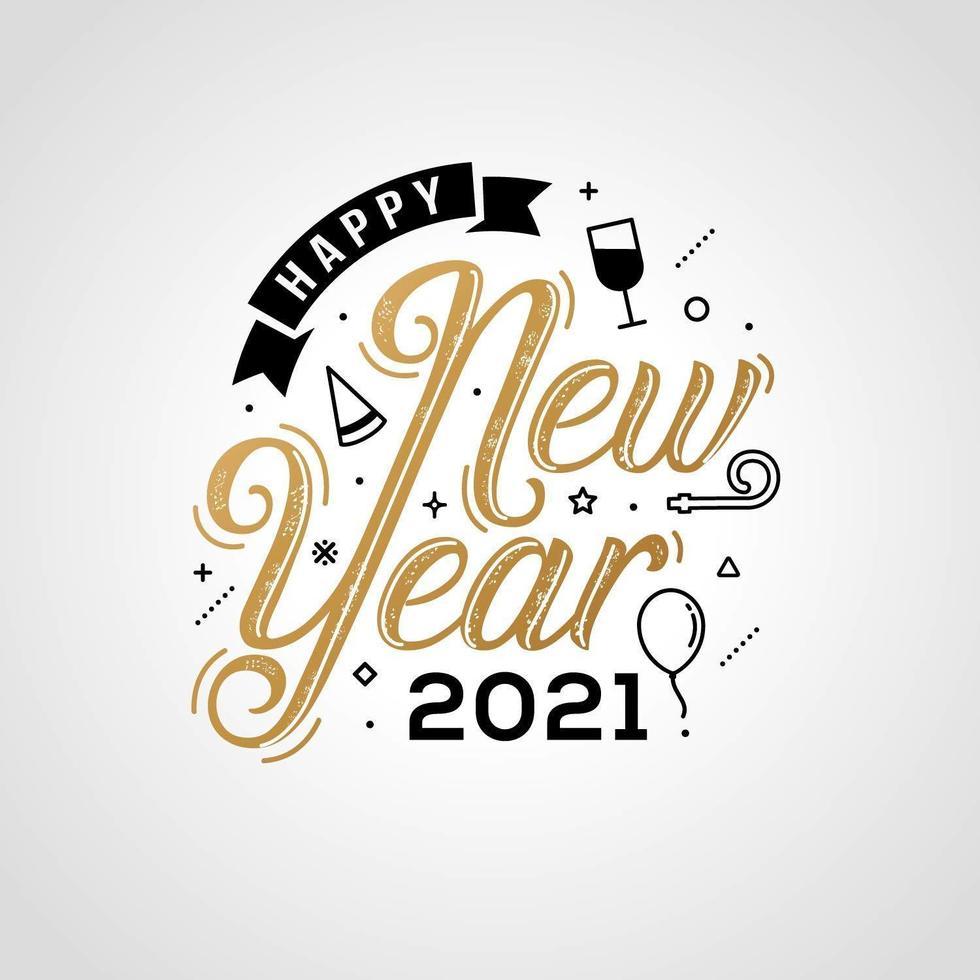 bonne année 2021 typographie pour carte de voeux vecteur