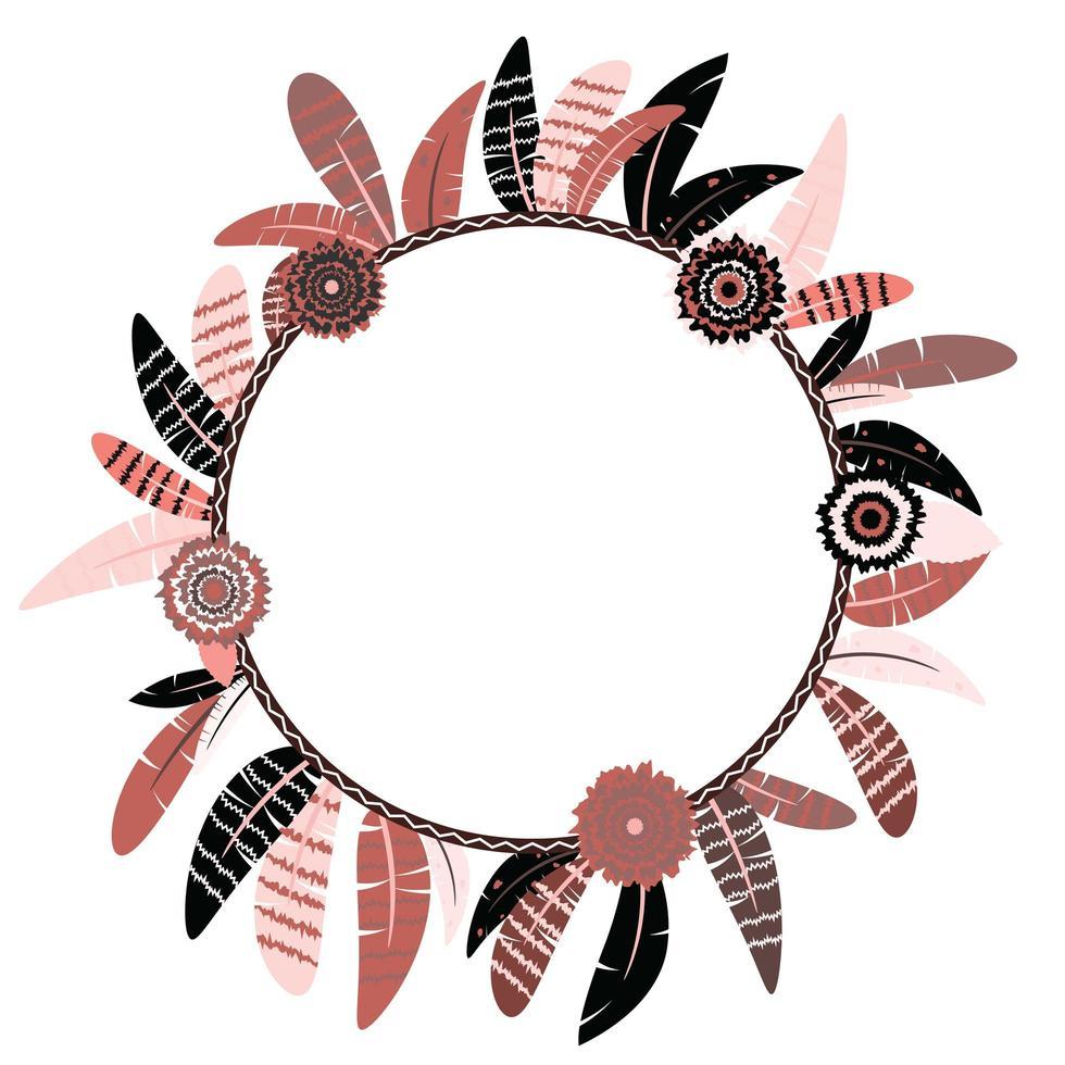 cadre de cercle annonce bébé avec plumes vecteur
