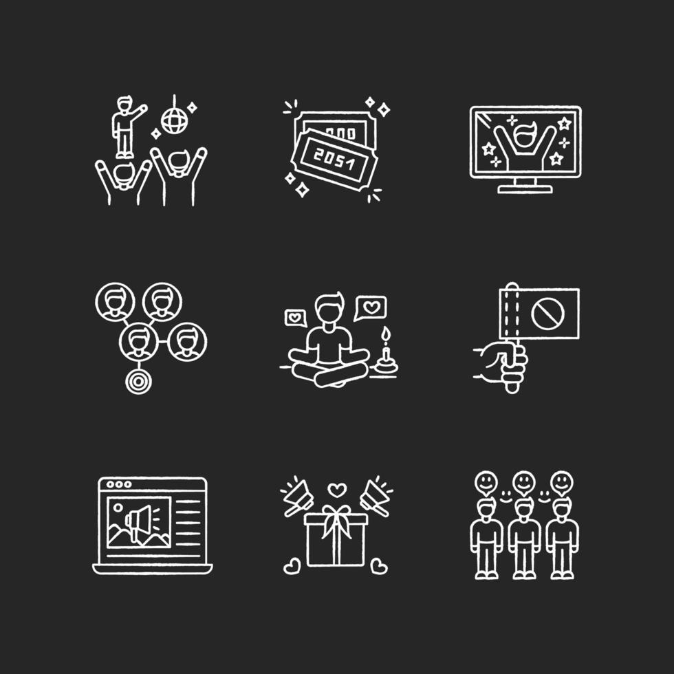 jeu d & # 39; icônes blanches de craie de promotion des médias sociaux vecteur