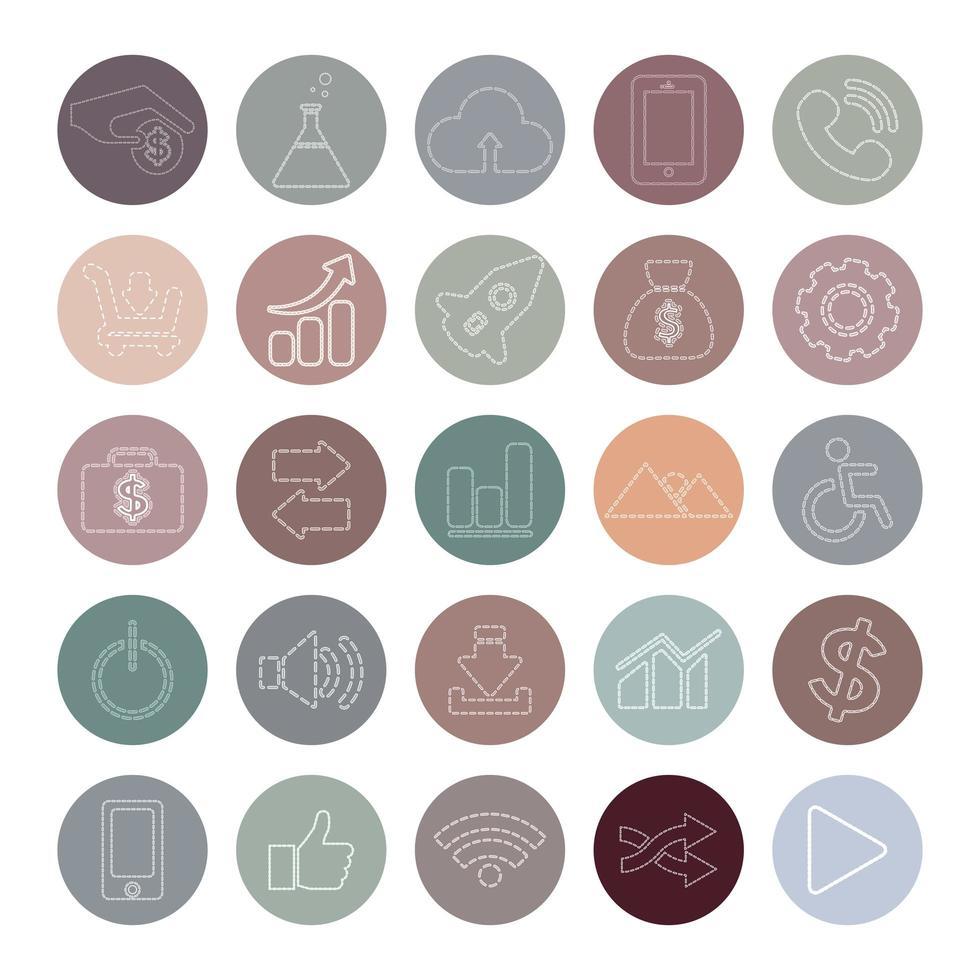 icônes de médias sociaux circulaires pastel vecteur