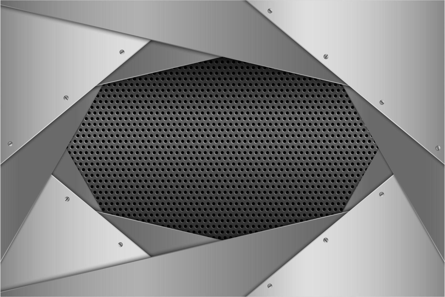 panneaux inclinés en couches d'argent métallique avec texture perforée vecteur