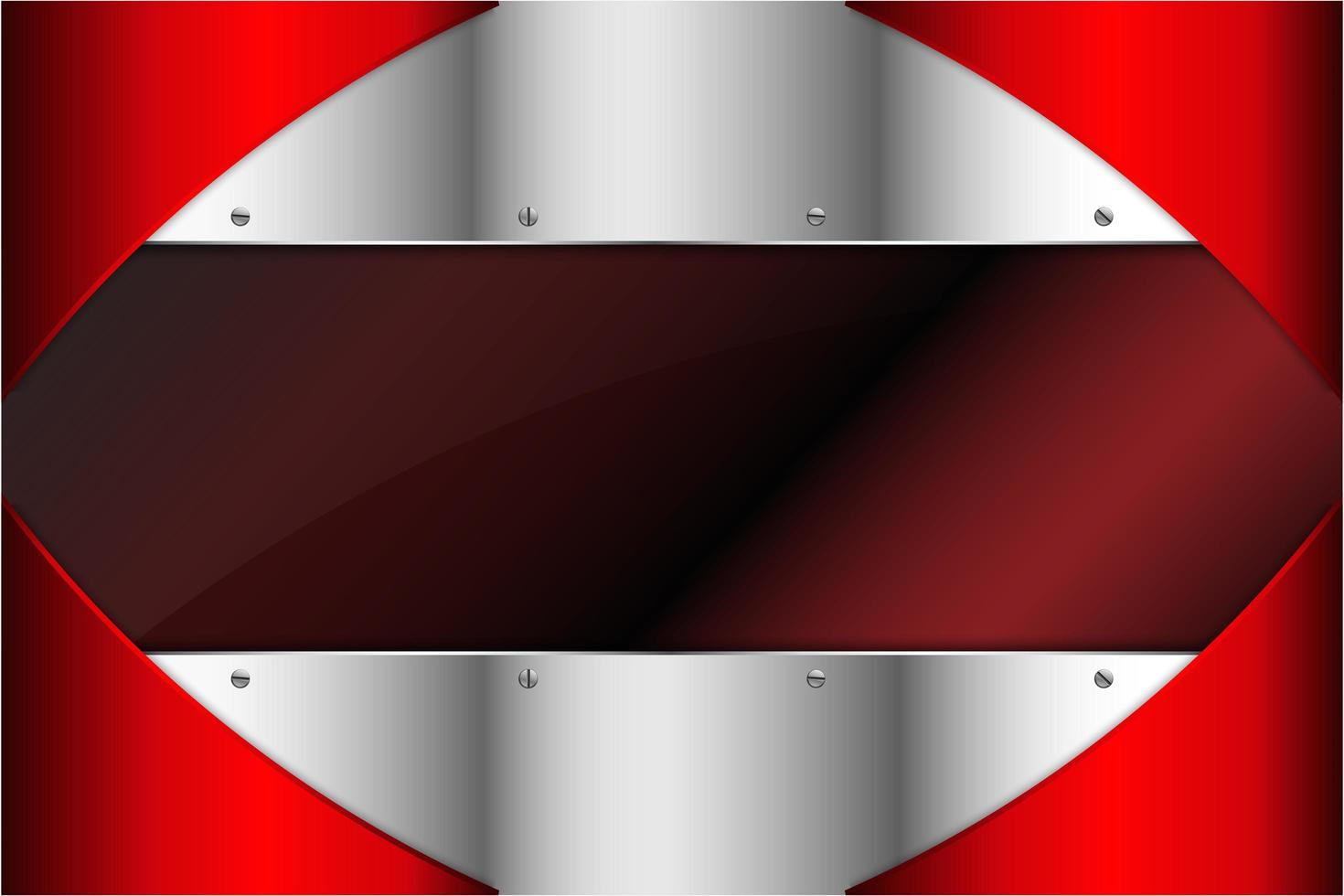panneaux rouges et argentés métalliques avec espace sombre vecteur