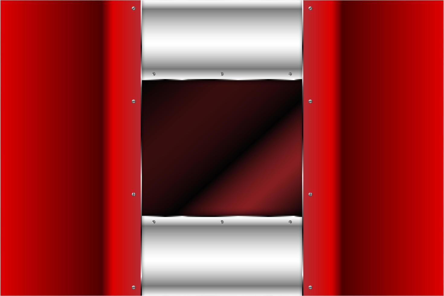 panneaux métalliques rouges et argentés vecteur