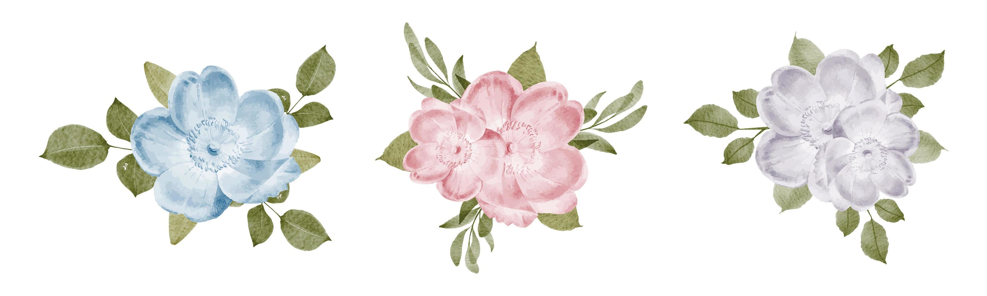 ensemble de bouquet de fleurs vecteur