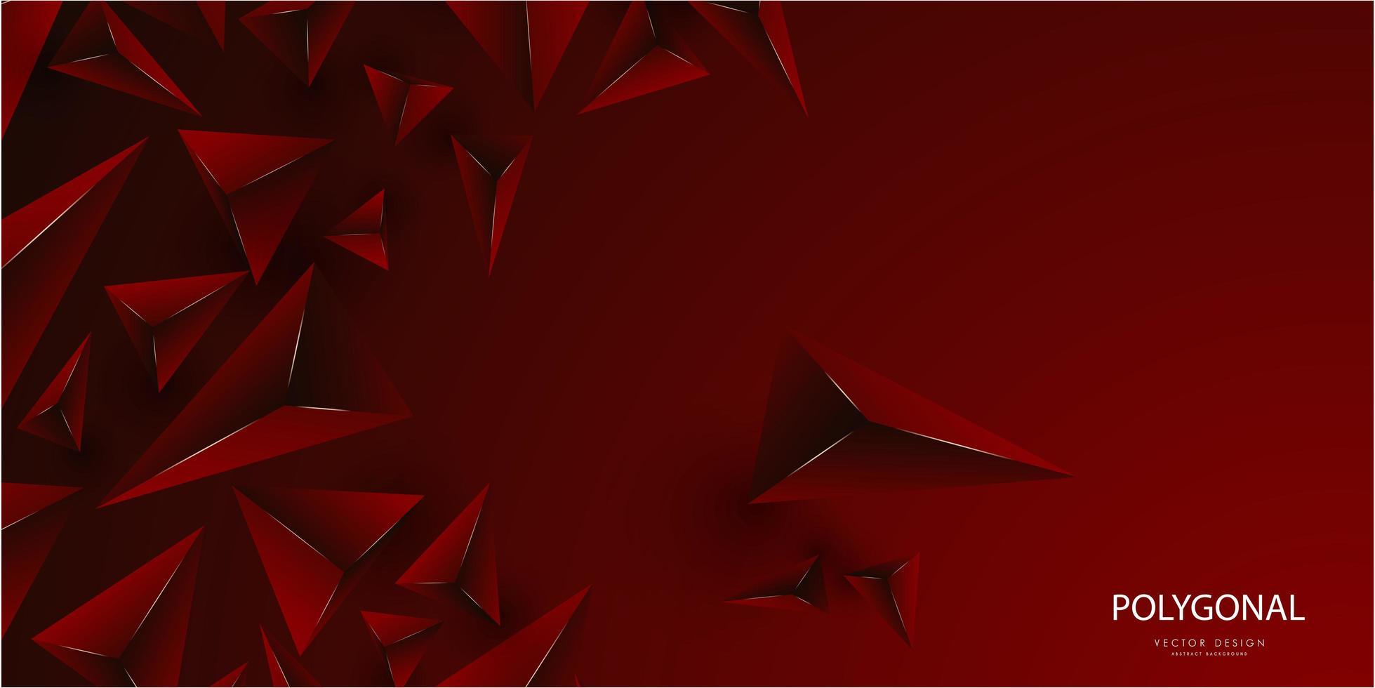 luxe rouge avec ligne d'or triangles 3d design moderne vecteur