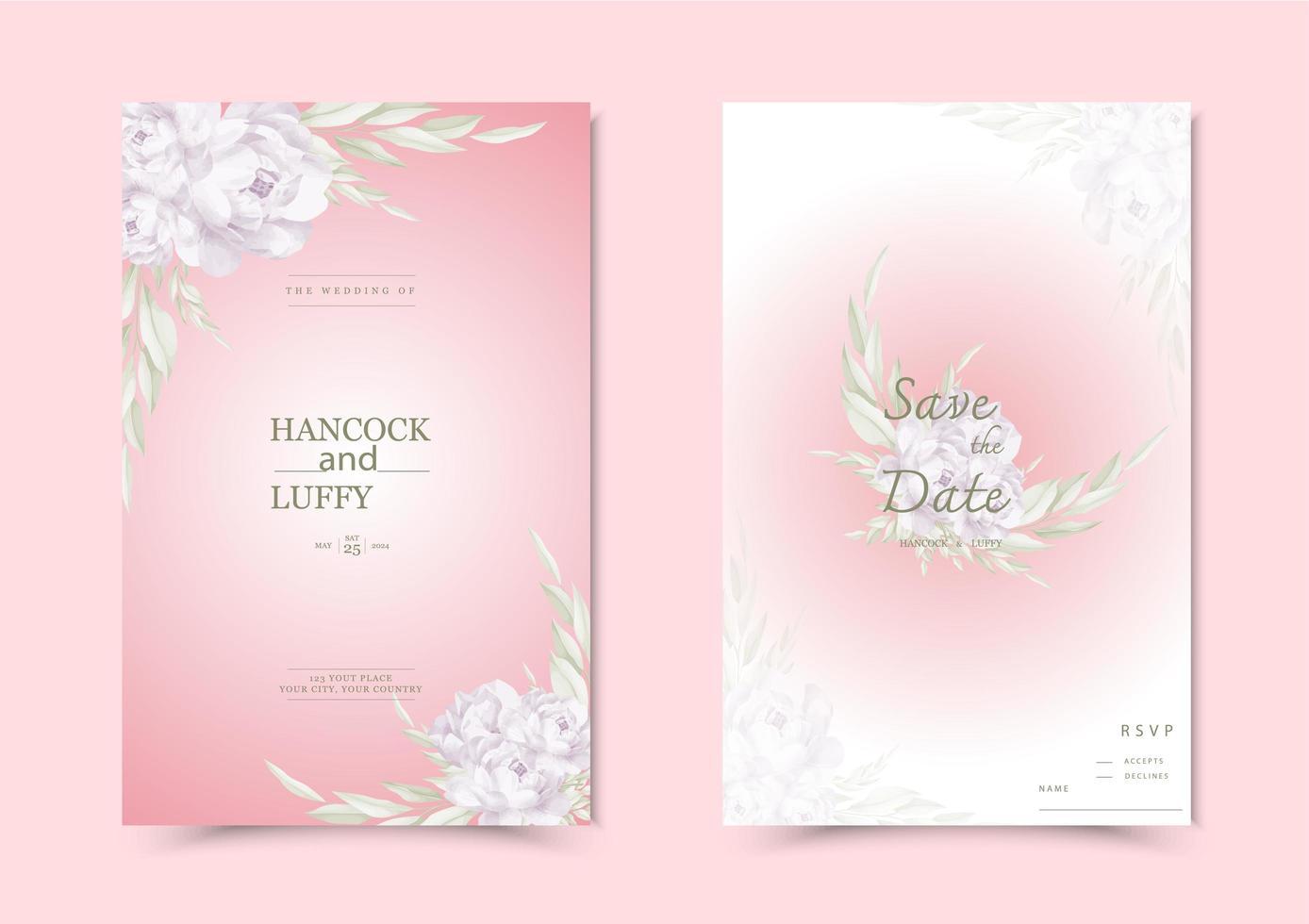 carte d'invitation de mariage floral. vecteur