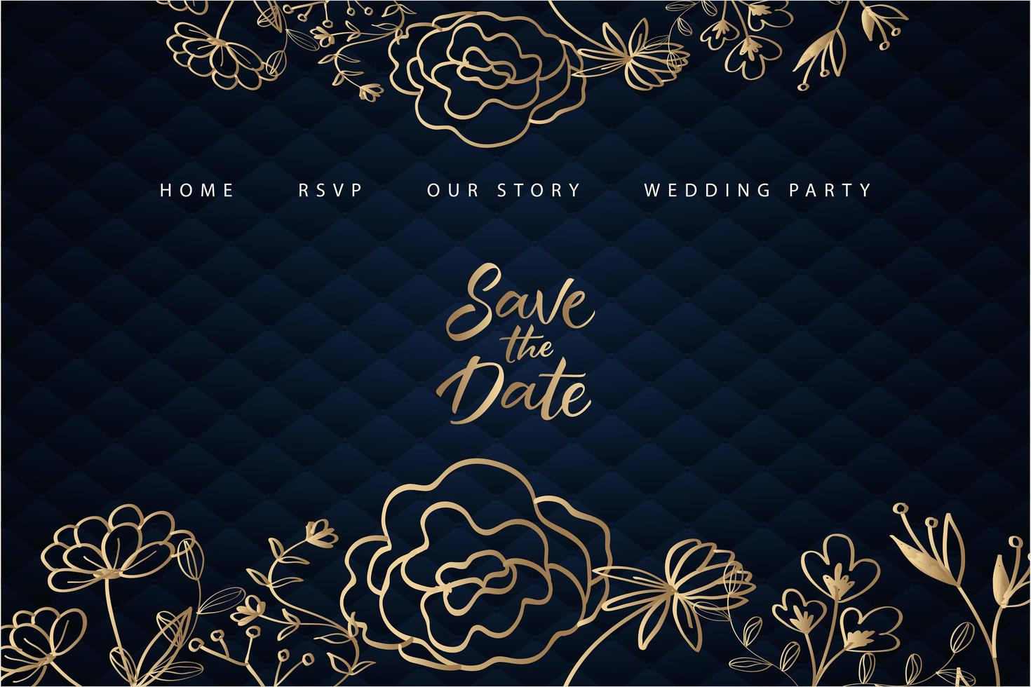 page de destination de mariage floral doré avec rembourrage bleu vecteur