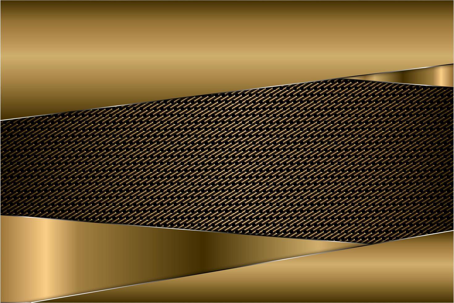 panneaux en or métallique avec texture en fibre de carbone vecteur