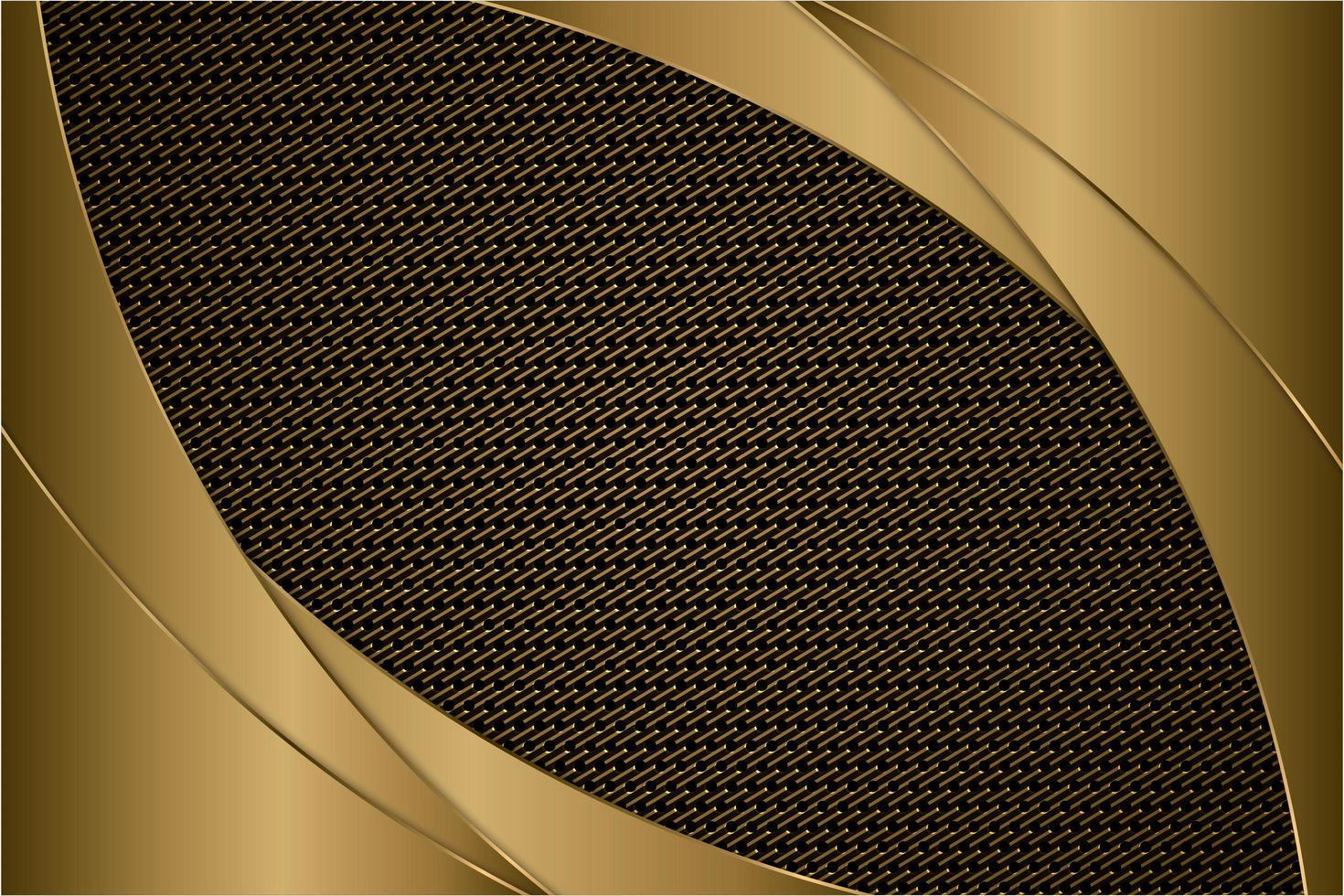 panneaux incurvés en or métallique avec texture en fibre de carbone vecteur