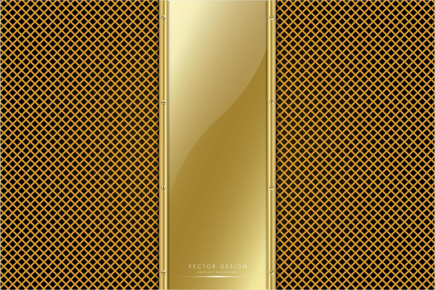 panneau en or métallique avec texture de ligne dorée vecteur