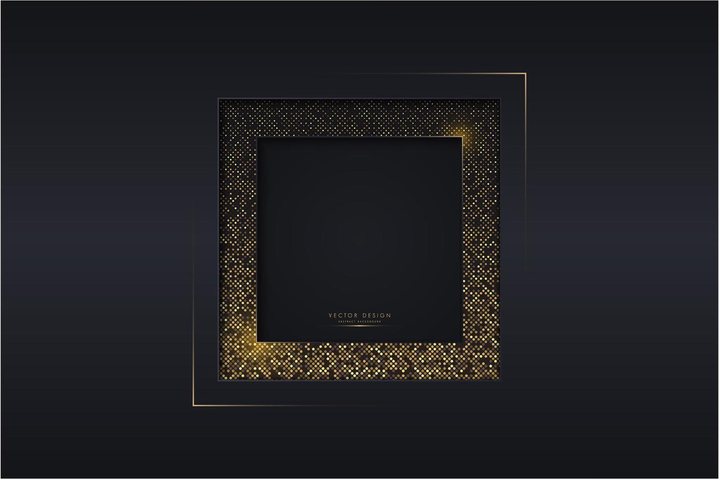 conception métallique sombre avec cadre de points dorés brillants vecteur