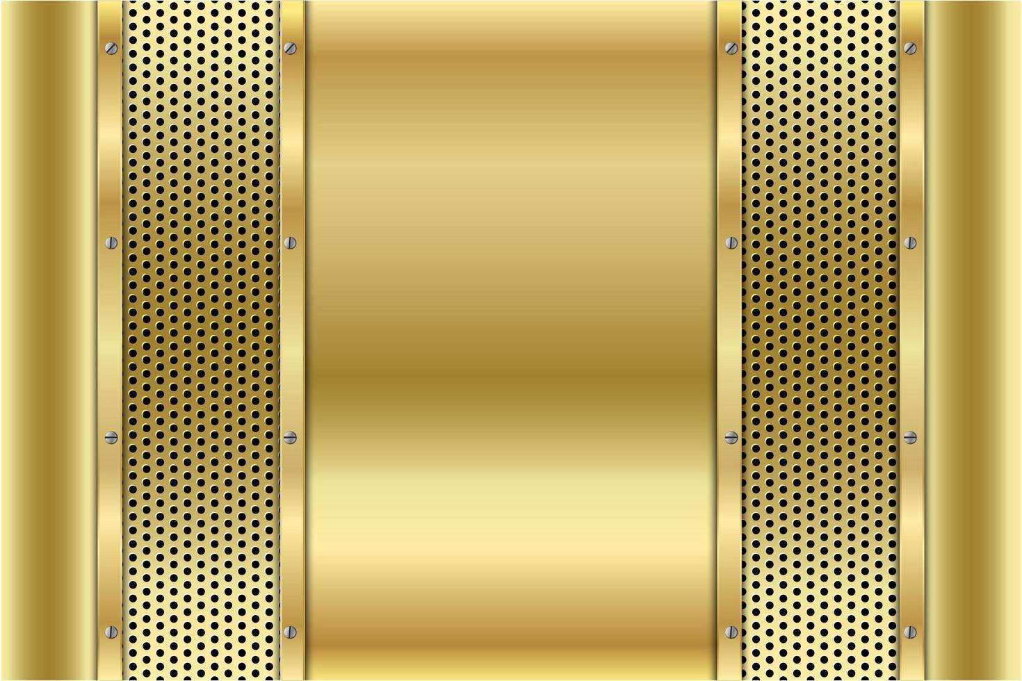 panneaux d'or métallique avec des vis sur texture perforée vecteur