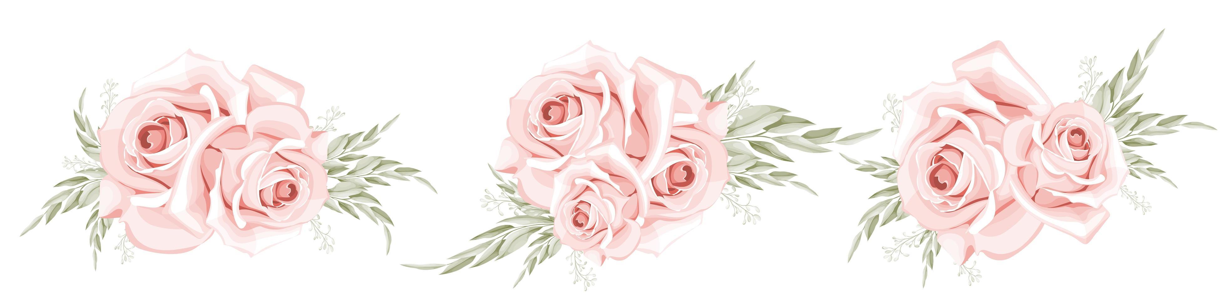 ensemble de bouquet de roses aquarelle vecteur