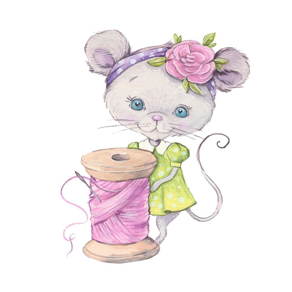 souris de dessin animé mignon aquarelle avec une bobine de couture vecteur