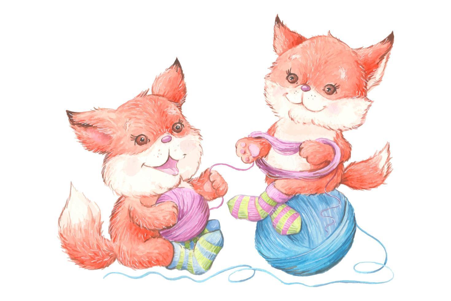 renards de dessin animé mignon aquarelle en chaussettes avec bâillement vecteur
