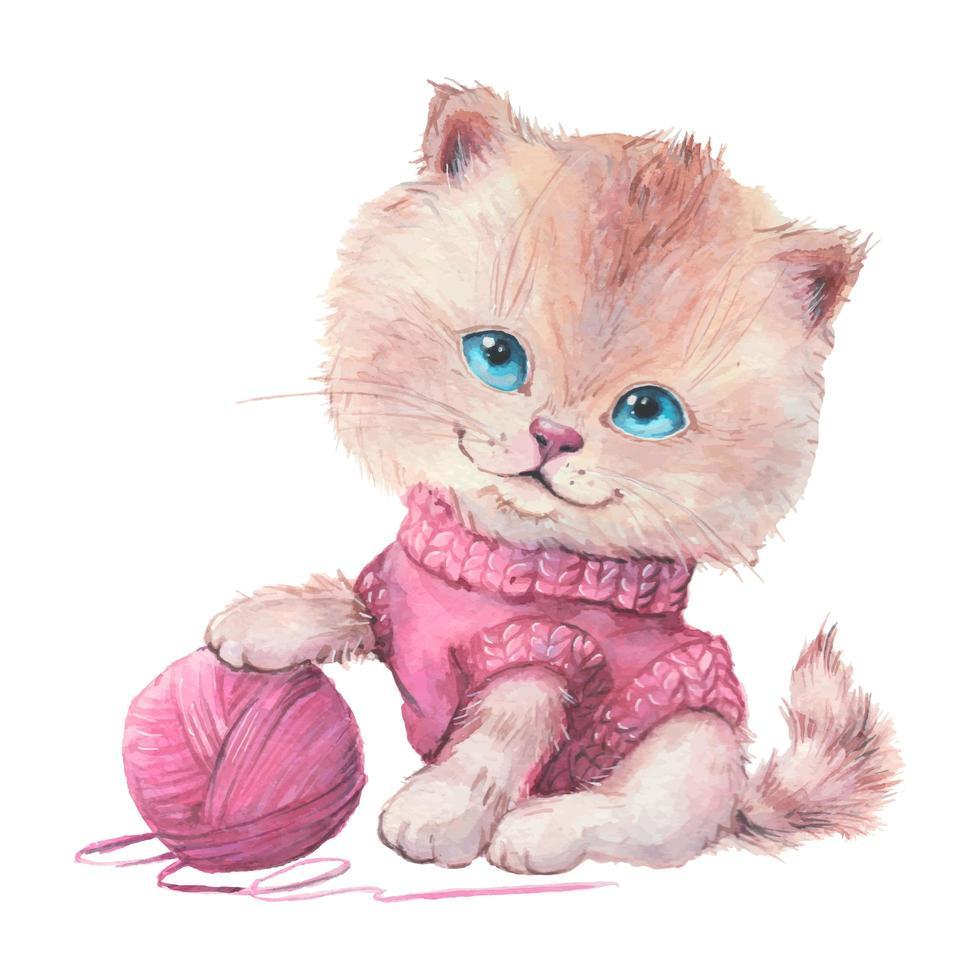 chat mignon dessin animé aquarelle dans un pull avec bâillement vecteur