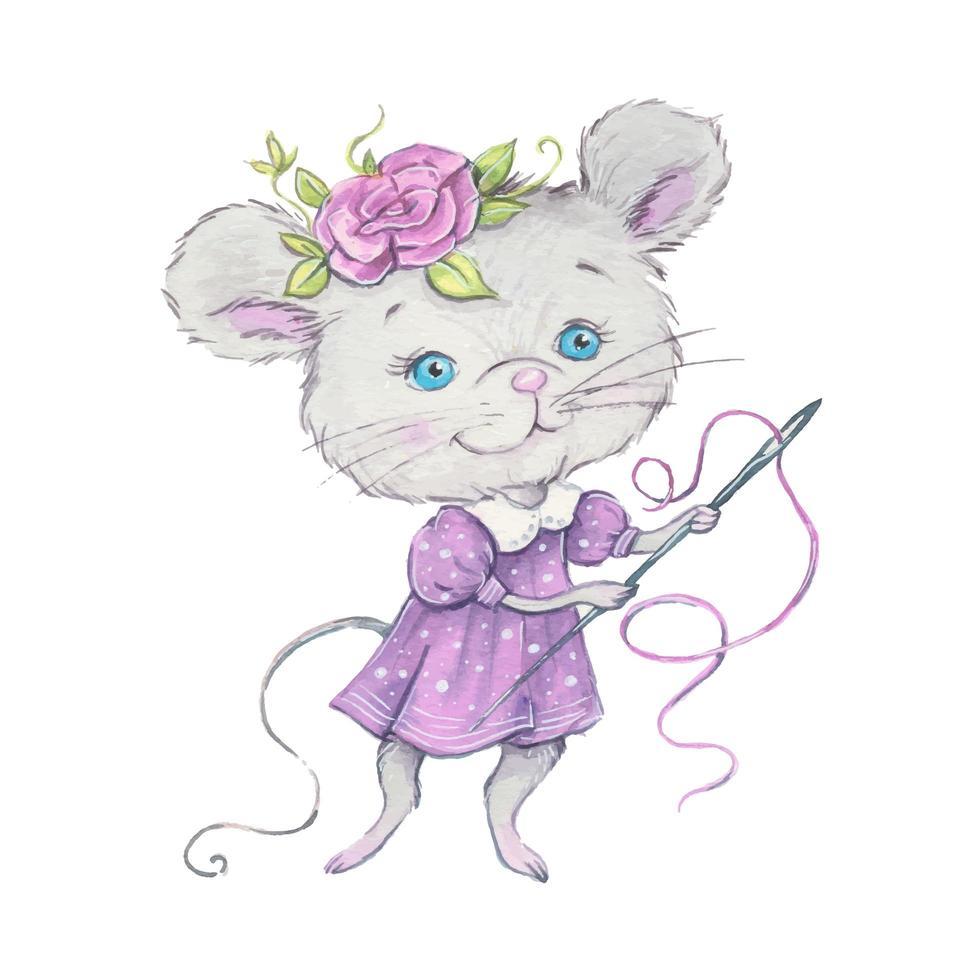 souris de dessin animé mignon aquarelle avec aiguille et fil vecteur